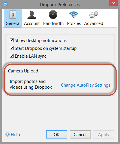 Enable Camera Uploads in your Dropbox preferences.