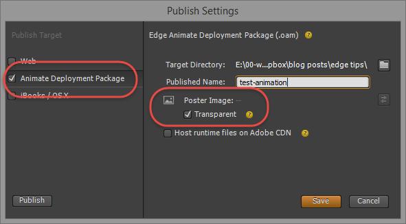 Edge Animate publish settings